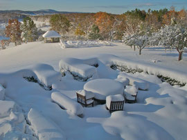 Our terrace garden in late autumn, buried under snow (Oct. 30, 2011)