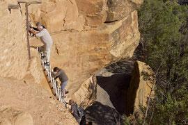 Mesa Verde, Colorado: ascending ladder to Balcony House