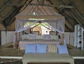 Tanzania, Selous game reserve: the bedroom of our cottage at Sand Rivers