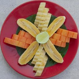 Bali, Ubud: breakfast fruit plate at The Purist Villas