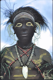 PNG, Nomad River area, Sokabi village. A Samo tribesman decorated for a traditional ceremony
