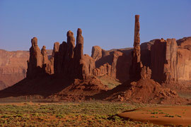 Monument Valley, Arizona: Yei Bi Chei (left) and Totem Pole (right)