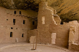 Mesa Verde, Colorado: Spruce Tree House with a kiva in forground