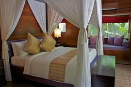 Bali, Ubud: a guest room at Villa Kayumanis