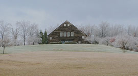 The barn following a heavy frost, viewed from the south (December 2008)