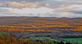 The view east from our gazebo towards the Taconic Hills, blanketed with Fall foliage (Oct. 2006)