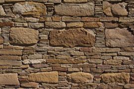 Chaco Canyon, New Mexico: stonework on the great kiva at Casa Rinconada