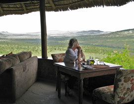 Tanzania, Klein's Camp: Bryce enjoying the view from the dining-room
