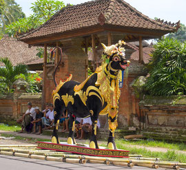 Bali, Payangan: Pelebon cremation ceremony. The bull (lembu) is made of wire mesh, paper and wood