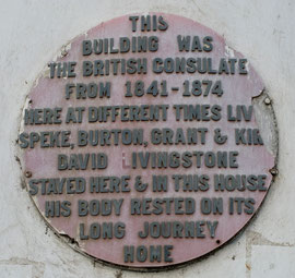 Tanzania, Zanzibar, Stone Town: a plaque on the former British consulate, where several renowned explorers stayed before journeying on to the African mainland