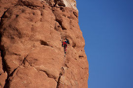 Moab, Utah, Arches National Park: rock climbing in the Garden of Eden