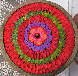 Bali, Ubud: 'Mandala' floral decoration floating on water filled stone basin outside store named Sagitarius