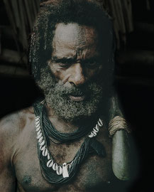 PNG, Nomad River area: a Biami tribesman from Waribi settlement carrying a stone adze