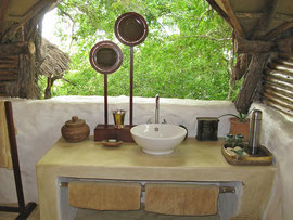 Tanzania, Selous game reserve: the bathroom of our cottage at Sand Rivers