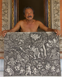 Dewa Gede Mandra, master painter and mask-maker, displaying his painting of a scene from the Ramayana saga