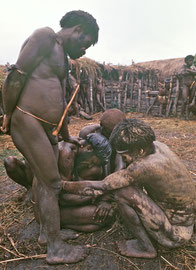 W. Papua, Baliem Valley: the dead girl's husband weeps and is restrained from throwing himself into the flames