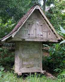 Bali: a Javanese rice granary (lumbung) on the grounds of Villa Bambu Indah, Ubud