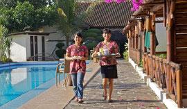 Java, Borobudur-Magelang: breakfast delivery, Villa Sumbing Indah