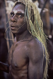W. Papua, Asmat: a man of Basim, dancing in a traditional ceremony, enters a trance-like state