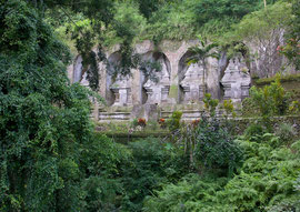 Bali, 11th cent. candi (shrines) cut into the rock face at Gunung Kawi Temple