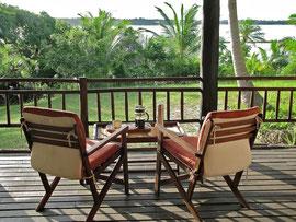 Tanzania, Mafia island: our verandah overlooked a channel bordered on the far side by Chole island