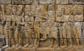 Java: depictions of the life of Buddha at the 8th century Buddhist stupa & temple of Borobudur