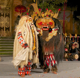 Bali, Puri Agung Peliatan Palace, Gunung Sari dance group. Barong, the battle between the benevolent forest-dwelling Barong and Rangda, a witch living in the ocean