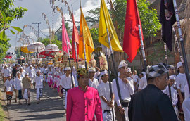 Bali, Ubud: participants in the Odalan ceremony arriving at Pura Dalem Kedewatan temple