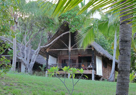 Tanzania, Mafia island: our thatch bungalow at Pole Pole