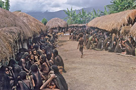 W. Papua, Baliem Valley: guests assembling for the funeral of a young woman who died in childbirth (women and children in foreground, men in rear)