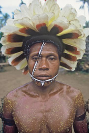 PNG, Trobriand Islands: a male dancer with a head-dress of white cockatoo feathers and scented flower petals on his torso