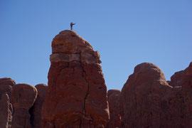 Moab, Utah, Arches National Park: rock climbing in the Garden of Eden