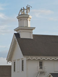 California, Mendocino: Time & the Maiden atop the cupola of the Masonic Hall