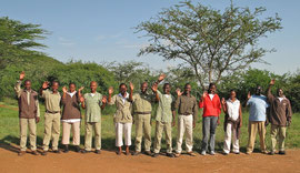 Tanzania, Klein's Camp: the staff assembled to greet us when we arrived