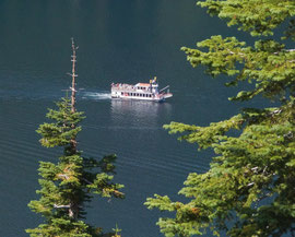 California, Lake Tahoe: a steamboat in Emerald Bay