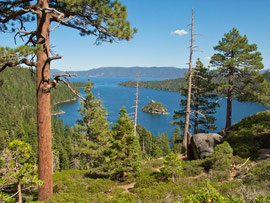 California, Lake Tahoe: the view over Emerald Bay and Fannette island