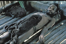 PNG: Sodhu's corpse at the Nomad River patrol post. His companions claimed he died from a sorcerer's spell