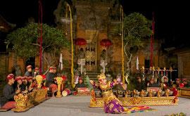 Bali, Puri Agung Peliatan Palace, Gunung Sari dance group. Kebyar Terompong, a male dancer imitating a woman dressed and moving like a man