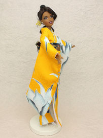 kimono Barbie,hurisode Barbie,バービー振袖 黄色