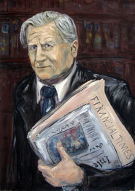 Jean-Claude Trichet . Former President Of European Central Bank . 100 x 80 cm . Oil On Paper