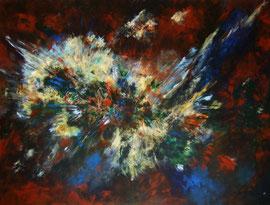 Urknall, 120x160 cm, Acryl auf Leinwand
