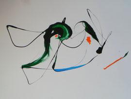 Grün domiert, 30 24 cm, Öl auf Papier