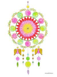 Mandala Christmas Dreamcatcher (aquarelle & acrylique sur papier, encadré - 24x36cm - 70€) - © B. Dupuis