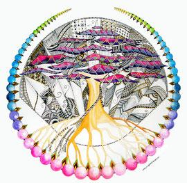 Mandala Fleur de Vie (aquarelle & acrylique sur papier, encadré - 70x70cm - 250€) - © B. Dupuis