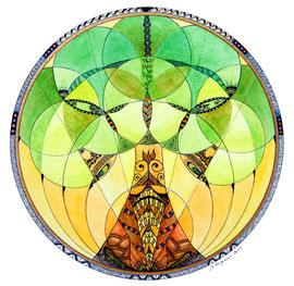 Mandala Arbre de Vie - (aquarelle & zentangle sur papier - 30x30cm - vendu) - © B. Dupuis