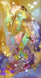 Brumes et sommets (encre sur toile 20x40cm - vendu) - © B. Dupuis