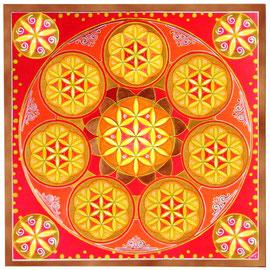 Mandala Fleur de Vie (aquarelle & acrylique sur papier - 70x70cm - vendu) - © B. Dupuis