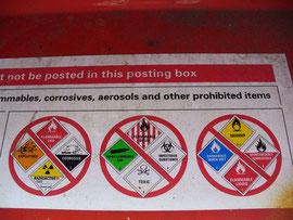 """Versendungshinweise auf Briefkasten in """"down under"""""""