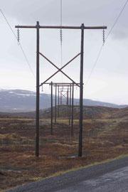 Strommasten soweit das Auge in die Ferne reicht
