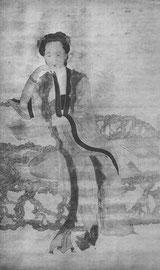 Portrait d'une dame assise, un livre à la main. Par Siu Fang (1622-1694). Les détails exquis du dessin de la robe ne se voient pas dans la reproduction. Siu Fang était poète et historien ; il peignit surtout des paysages et des fleurs.